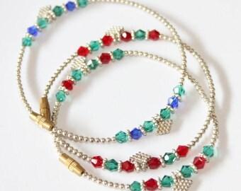 Green Czech crystal bracelet, screw clasp, 190 mm