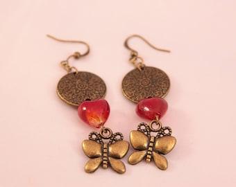 Beautiful 65 mm glass beads earring
