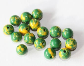 stone 6 mm, yellow and green, set of 10 beads