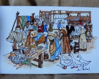 Medieval market, stainglass painting on canvas