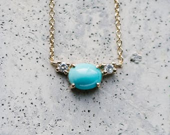Petite Turquoise and Double Diamond Necklace / Diamond Necklace / Petite Necklace / Fine Jewelry Necklace / Solid 14 kt Yellow Gold