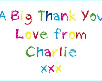 Personalised thank you crayon style  A6 flat glossy cards/ notes  pack of 12
