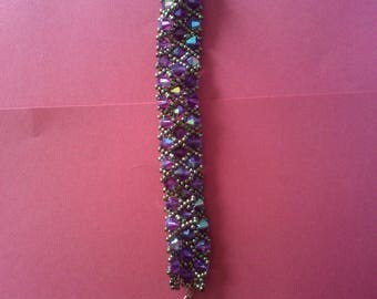 Purple bicone Beads Bracelet