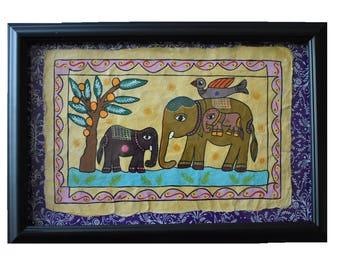 Elephant Family Mithila Art On Lokta Paper | Madhubani painting | Ethinic Art