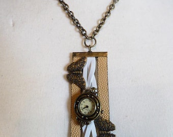"""Necklace-watch """"Flight of butterflies"""""""