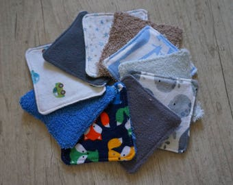 10 wipes Terry, fleece, flannel, various patterns