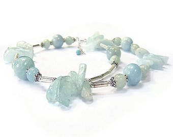 AQUAMARINE STONE NECKLACE AND STERLING SILVER 925