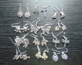 Handmade Sterling Silver Drop Dangle Charm Earrings
