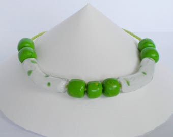 Green and white glass beads and fimo beads necklace
