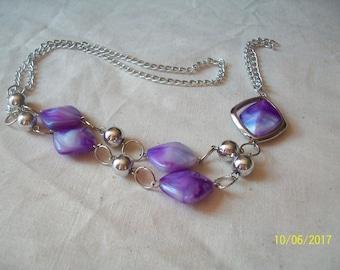 medium purple and silver bead, resin