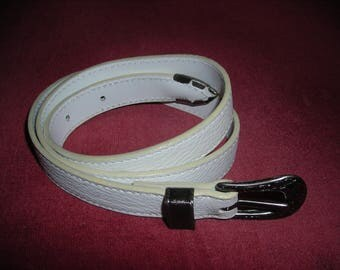 Women white grained Buffalo leather belt