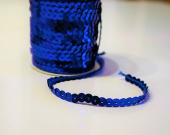 Sequin, blue, 5mm wide ribbon