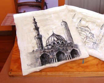 Mosque on cotton canvas charcoal drawing