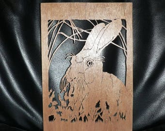 Portrait of a rabbit wooden cutout