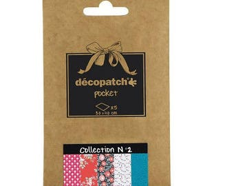 Set of 5 paper Decopatch 30 x 40 cm - Pocket Collection N 2 - Ref DP002