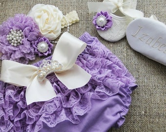 LAVENDER BLOOMER with BOW, lavender diaper covers, chiffon ruffle diaper cover, photo prop, newborn ruffle bloomer-ready to ship!