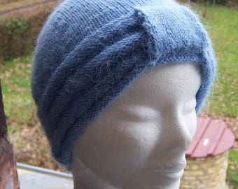 Sky Blue Hat hand knitted in angora wool