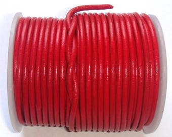 Red 2 mm round leather lace