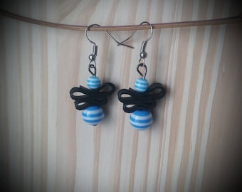 Blue striped resin - beads and recycled bike tube earrings