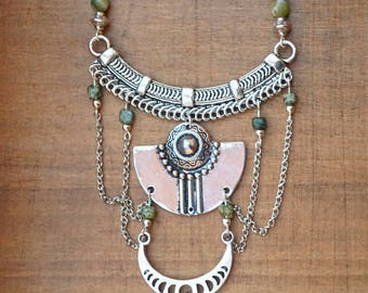 Aztec style with elephant silver necklace