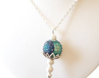 "Pendant necklace, ""elegant shade of blue"""