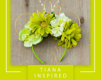 Tiana Inspired Disney Floral Ears
