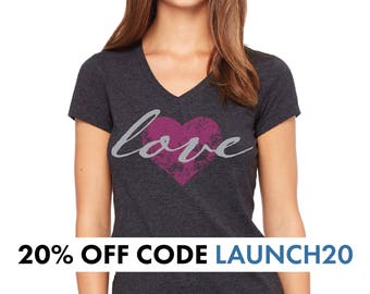 Our original Love Heart V-Neck Womens T-Shirt Distressed in Charcoal Black Womens Gift Love tshirt Womens tshirts Gift for her