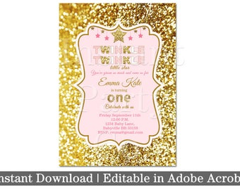 Twinkle twinkle little star first birthday invitation, Pink and gold first birthday invitation, girl first birthday invitation