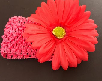 Pink and bold infant to toddler girls flower headband, Girls Headband, Baby Headband, Hair Bows