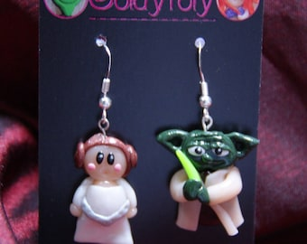 Princess Leila and Yoda Kawaii earrings polymer clay