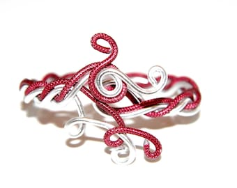 Red and silver twisted bracelet - aluminum wire - handmade