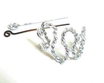 Barrette/hairpin pattern curved, hair - accessory shiny aluminium
