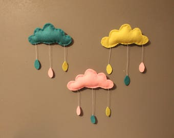 3 clouds in pinks, turquoise and yellow