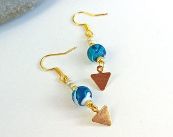 Golden turquoise Navy white triangle charm earrings