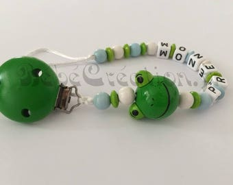 Personalized pacifier Blue Frog