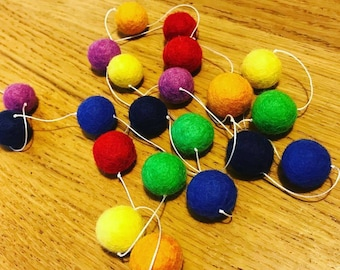 Rainbow Felt Wool Ball Garland Handmade