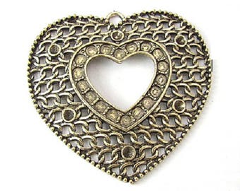 Bronze colored openwork filigree heart charm