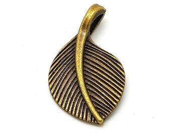from large brass colored leaf charms