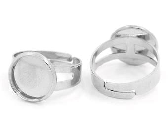 x 2 silver plated Adjustable ring 12mm - SC27526 Mat - ring brackets