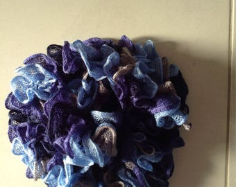 Taffeta and Newcastle ruffle scarf sky blue, Navy and gray