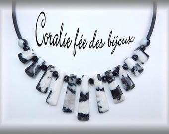 natural stones and Crystal, black and white pvc tube necklace