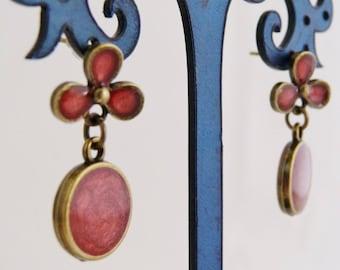 "Earrings ""Spring"", flowers, red (dark Raspberry) cabochon"