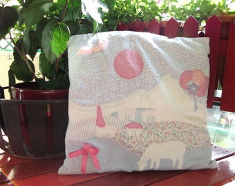 applications of pattern pillow cover. White cotton