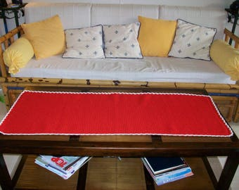 Hand made red table runner or throw