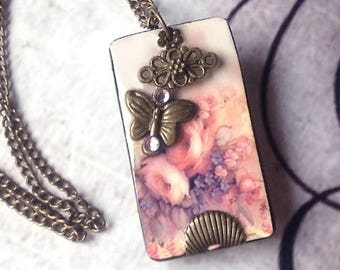 Necklace spring Butterfly pink flowers