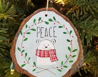 Peace Polar Bear Ornament