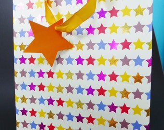 20 very durable paper gift bag x 25 cm multicolored stars star