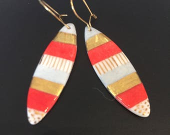 Surf porcelain earrings