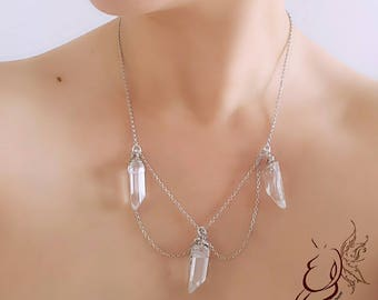 Necklace with rock crystal points