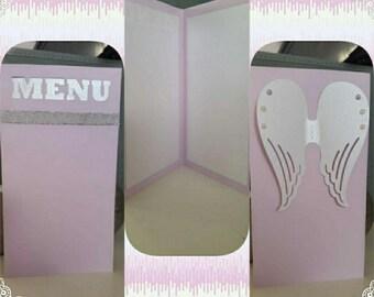 menu card theme Angel shape